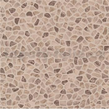 Vinylové tapety na zeď kamenná mozaika hnědá