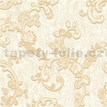 Vliesové tapety na zeď zámecký vzor zlatý na krémovém podkladu