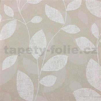 Vliesové tapety na zeď Collection lístky světle hnědé