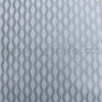 Vliesové tapety na zeď Collection 2 vlnovky stříbrné s metalickým efektem
