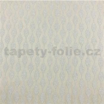 Vliesové tapety na zeď Collection 2 vlnovky světle hnědé s metalickým efektem