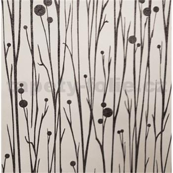 Vliesové tapety na zeď Collection stonky černé s vysokým leskem na bílém podkladu