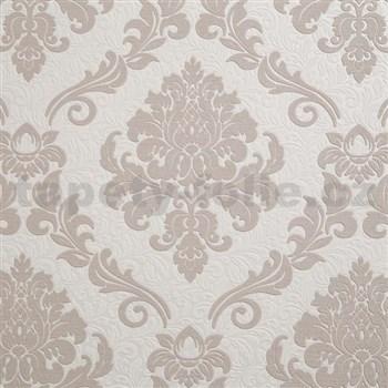 Vliesové tapety IMPOL zámecký vzor hnědý na bílém podkladu
