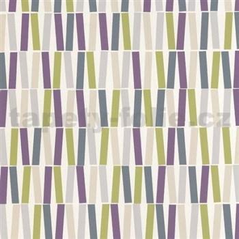 Vinylové tapety na zeď Collection retro vzor fialovo-zelený