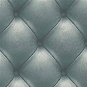 Vliesové tapety na zeď Exposed Warehouse imitace koženky s knoflíky zelená