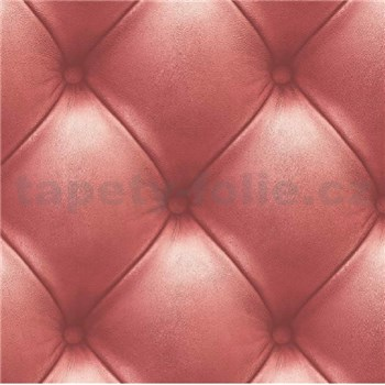 Vliesové tapety na zeď Exposed Warehouse imitace koženky s knoflíky červená