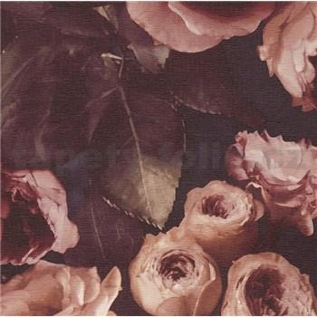 Vinylové tapety na zeď Opus květinová kompozice hnědá na tmavém pozadí