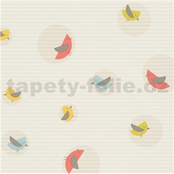 Vliesové tapety na zeď Collection ESPRIT barevní ptáčci na krémovém podkladu