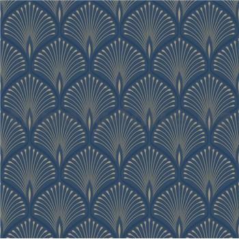 Vliesové tapety na zeď paví peří stříbrno-tmavě modré