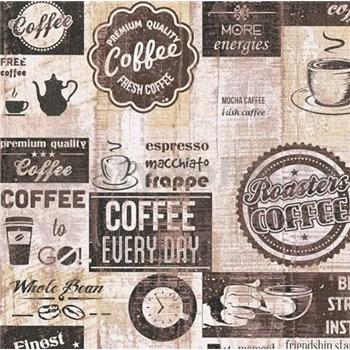 Papírové tapety na zeď retro cofee hnědé