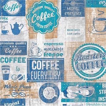 Papírové tapety na zeď retro coffee modré