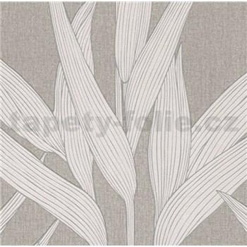 Vliesové tapety na zeď Hygge bambusové listy krémové s bílými konturami