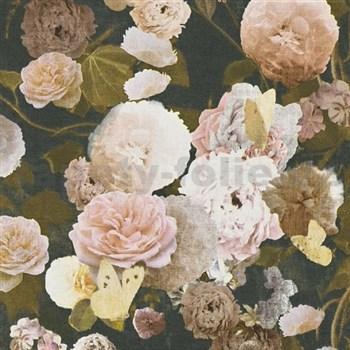 Vliesové tapety na zeď Paradise Garden květy velké na černém podkladu