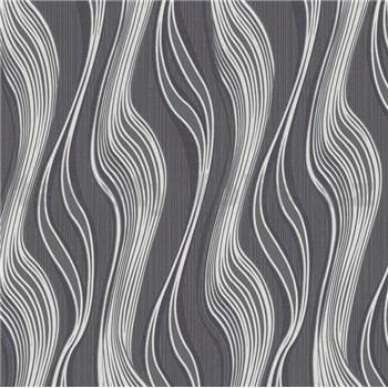 Vliesové tapety na zeď Collection 2 vlnovky černo-stříbrné