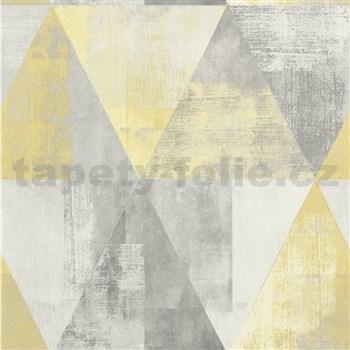 Vliesové tapety na zeď IMPOL Collection geometrické vzory s patinou šedo-žluté