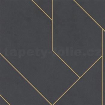 Vliesové tapety na zeď IMPOL Collection skandinávský design tmavě šedý s matnými zlatými konturami