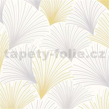 Vliesové tapety na zeď Collection paprskový vzor žluto-šedý na bílém podkladu s třpytkami
