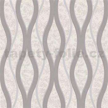 Vliesové tapety na zeď vlnovky šedé