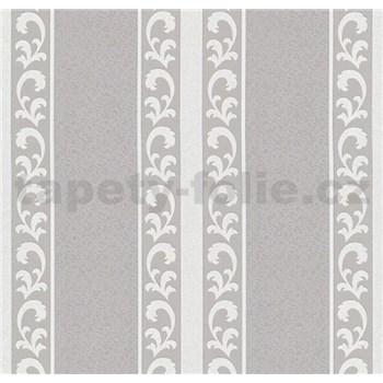 Vliesové tapety na zeď malý zámecký vzor bílý v tmavých pruhoch