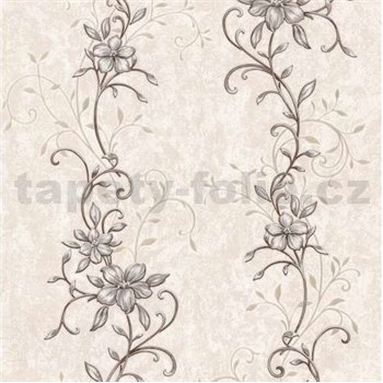 Vliesové tapety na zeď květinový vzor hnědý se zlatými stonky