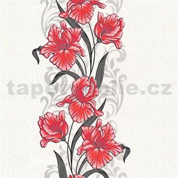 Vliesové tapety na zeď kosatce červené na bílém podkladu