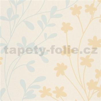 Vliesové tapety na zeď žluto-modré větvičky na krémovém podkladu