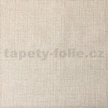 Vliesové tapety na zeď textilní vzor hnědý s třpytkami