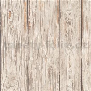 Luxusní vliesové tapety na zeď IMPOL Attitude dřevěné desky hnědé