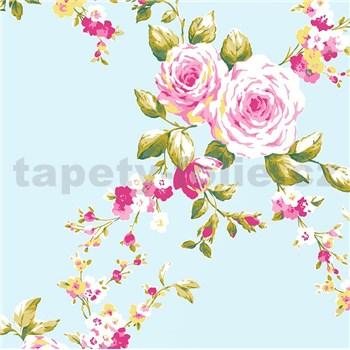 Papírové tapety na zeď Catherine Lansfield růže na mentolovém podkladě