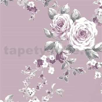 Papírové tapety na zeď Catherine Lansfield růže na tmavě fialovém podkladě - POSLEDNÍ KUSY