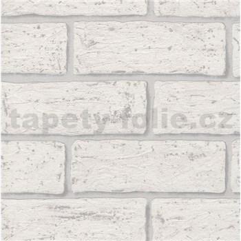 Vliesové tapety na zeď cihla bílá