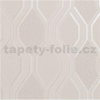 Vinylové tapety na zeď geometrický vzor světle hnědý