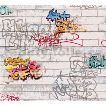 Papírové tapety na zeď bílé cihly s graffiti