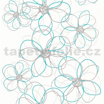 Vliesové tapety na zeď Collection 2 květy šedo-modré na bílém podkladu