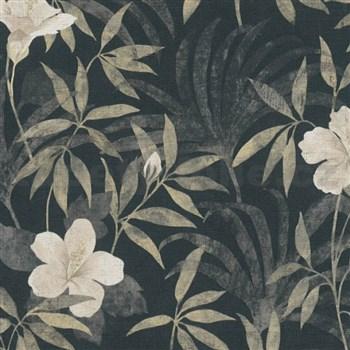 Vliesové tapety na zeď IMPOL CUBA květy s listy béžové na černém podkladu