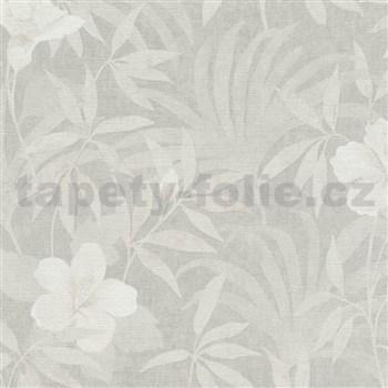 Vliesové tapety na zeď IMPOL CUBA květy s listy krémově bílé na světle hnědém podkladu