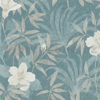 Vliesové tapety na zeď IMPOL CUBA květy s listy bílo hnědé na aqua zeleném podkladu