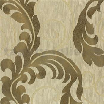 Luxusní vliesové tapety na zeď Da Milano - listy zlato-šedé