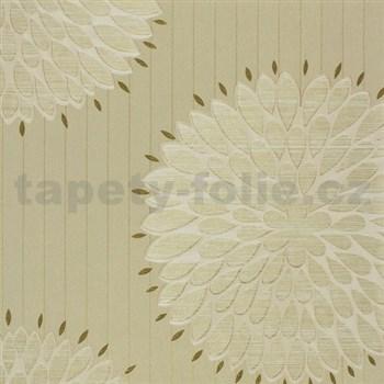 Luxusní vliesové tapety na zeď Da Milano - květy zlato-krémové rozměr 10,05 m x 1,06 m PROFI ROLE