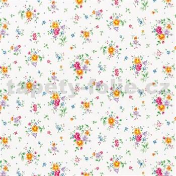 Samolepící tapety  - květy na bílém podkladu 45 cm x 15 m