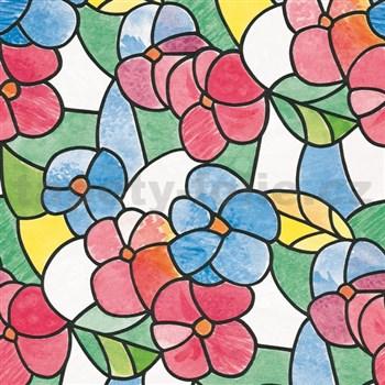 Samolepící tapety  transparentní květy červené 45 cm x 15 m