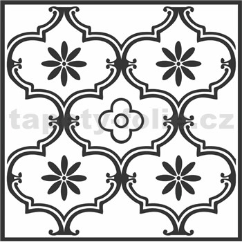 Vinylové samolepící podlahové čtverce Classic ornament černý rozměr 30,5 cm x 30,5 cm