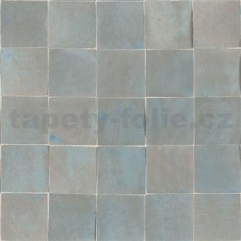 Vliesové tapety na zeď Nubia mozaika metalická šedo-modro-hnědá