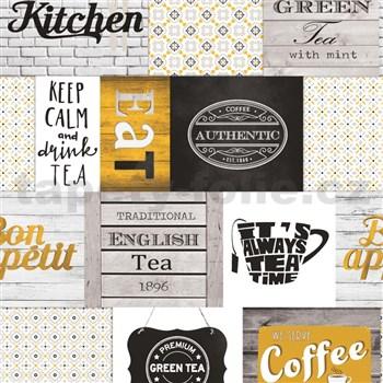 Vinylové tapety do kuchyně IMPOL Decoration moderní patchwork okrový