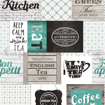 Vinylové tapety do kuchyně IMPOL Decoration moderní patchwork tyrkysový