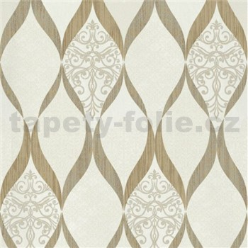 Luxusní vliesové tapety na zeď G.M.Kretschmer Deluxe kašmírový vzor zlato-krémový