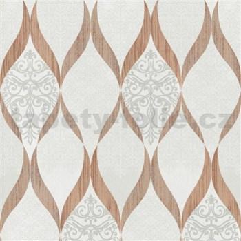 Luxusní vliesové tapety na zeď G.M.Kretschmer Deluxe kašmírový vzor měděný-krémový