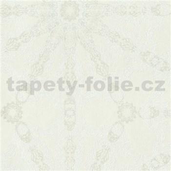 Luxusní vliesové tapety na zeď G.M.Kretschmer Deluxe lesklý stříbrný vzor na krémovém podkladu