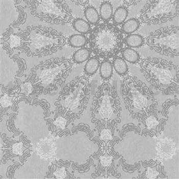 Luxusní vliesové tapety na zeď G.M.Kretschmer Deluxe lesklý stříbrný vzor na šedém podkladu