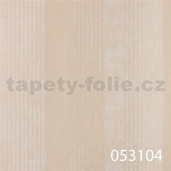 Vliesové tapety na zeď La Veneziana - pruhy krémové s metalickým efektem